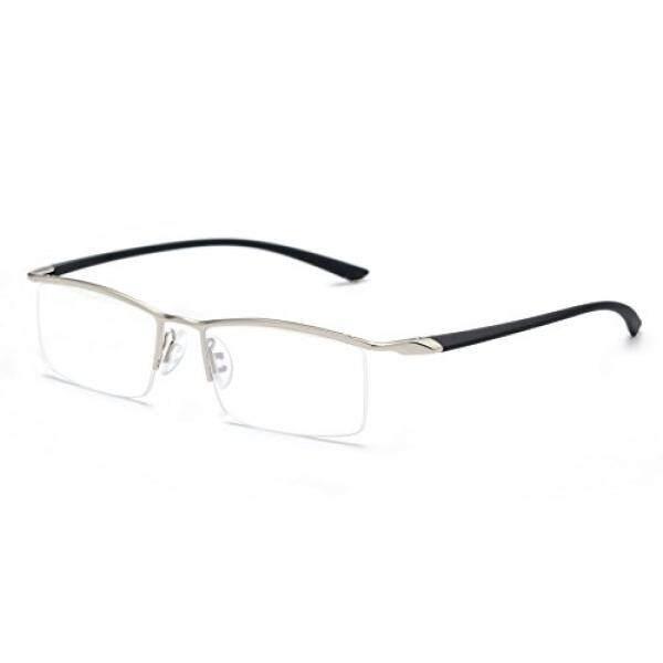 JNS Titanium Semi-rimless Kacamata Bisnis Optik Bingkai Bening Lensa (Perak, Transparan)-Internasional