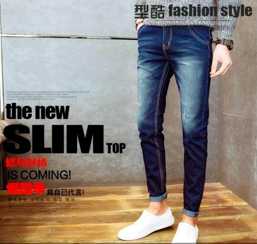 cf8e65121fa Summer New Fashion Pencil Ripped Denim Jeans for Men Slim Loose Size  Distressed Washed Pants Zipper