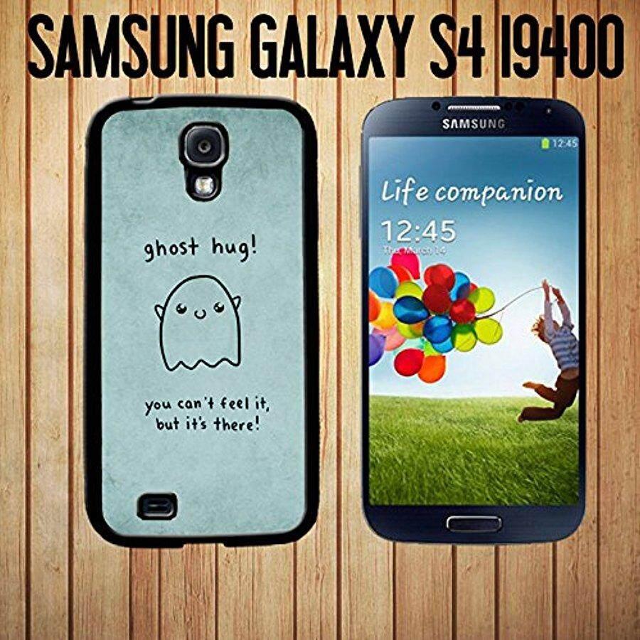 Ghost Hug Lucu Unik Lucu Murah Girly Yang Menggemaskan Kustom Terbuat Case Sarung/Kulit Anda Samsung Galaksi S4-Black-Karet Case (Kapal dari CA) -Internasional