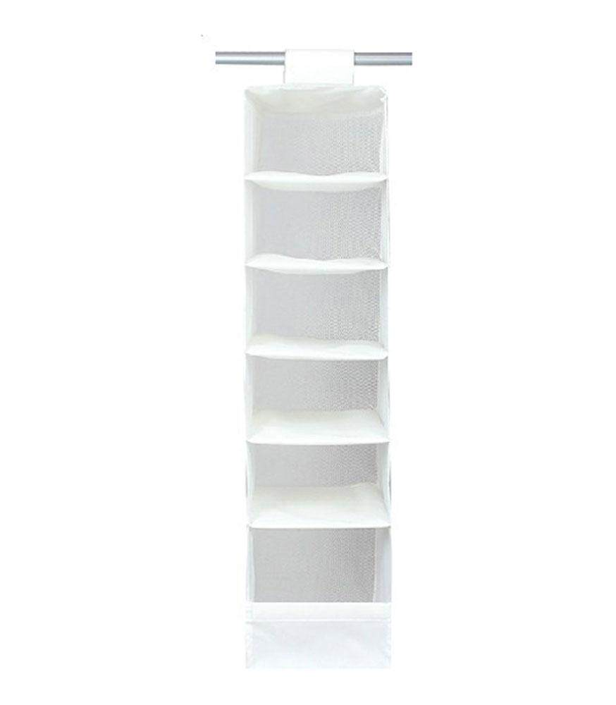 yukufus Natural Nylon Oxford 6 Compartment Soft Storage Hanging Accessory Shelves, White