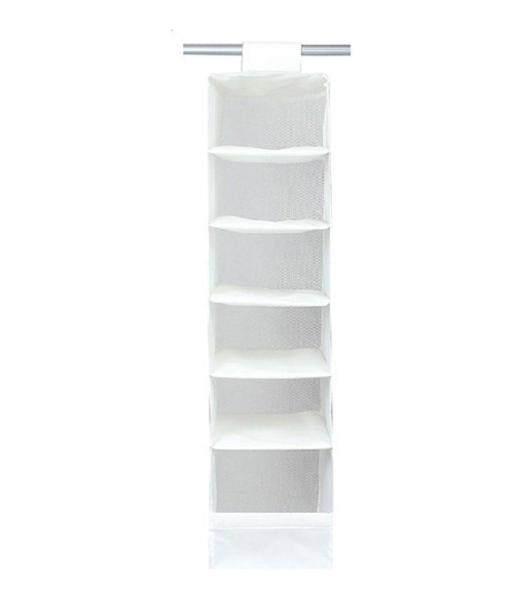 yukufus Natural Nylon Oxford 6 Compartment Soft Storage Hanging Accessory Shelves, White
