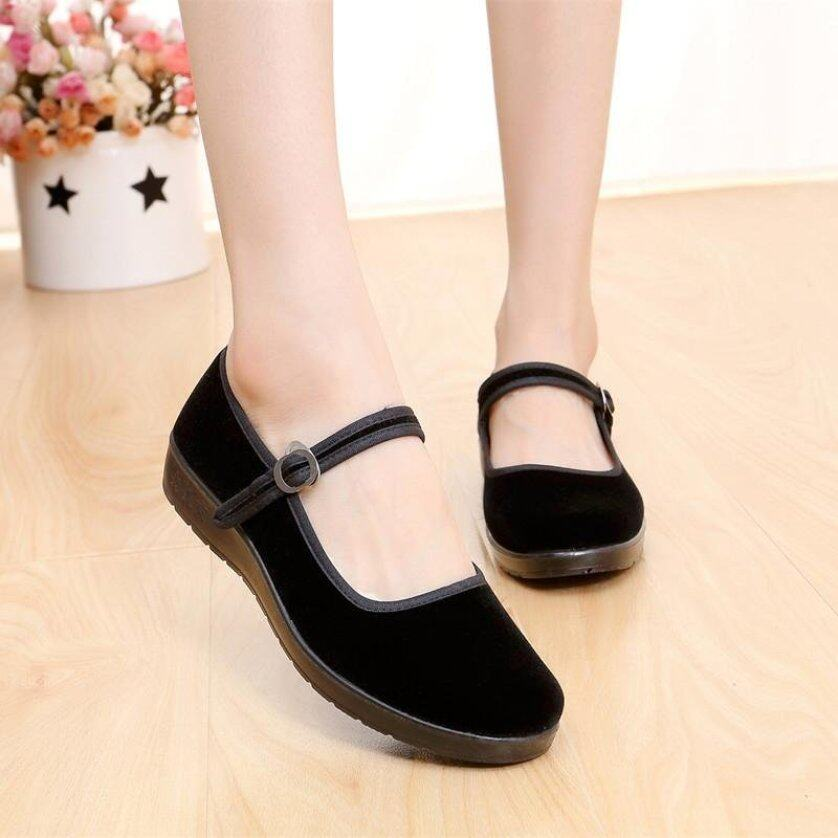 New Women Lady Chinese Mary Jane Ballerina Work Velvet Shoes Cotton Sole Flats BLACK giá rẻ
