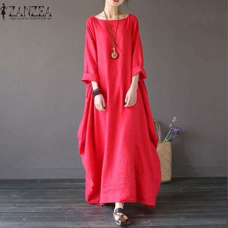 2018 ZANZEA Womens Crewneck 3/4 Batwing Sleeve Baggy Maxi Long Shirt Dress Casual Party Kaftan Solid Robe Vestido Plus Size (Red)