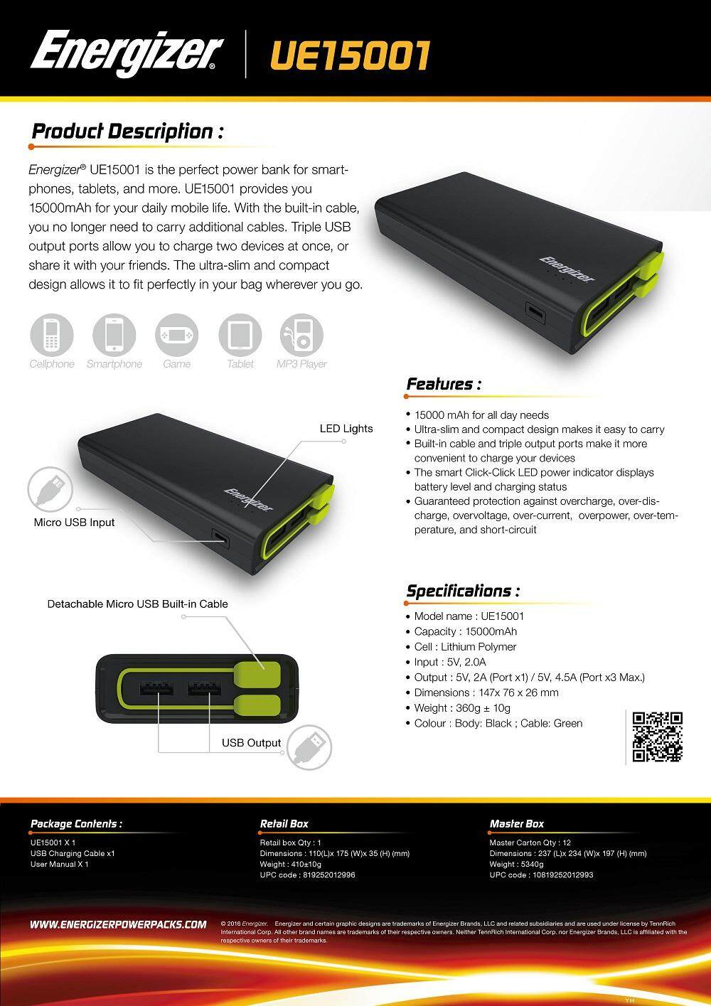 Energizer Ue15001 15000mah Power Bank With Build In