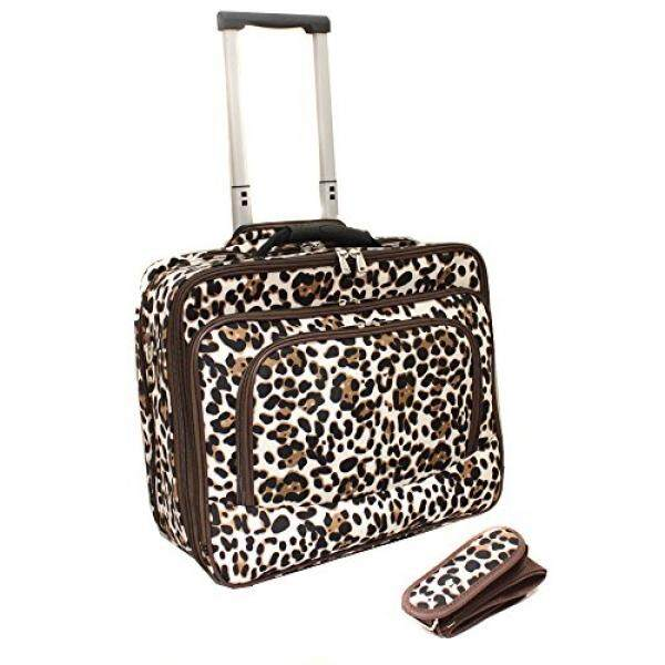 World Traveler Fashion Print Womens Rolling 17-Inch Laptop Case, Brown Leopard, One Size - intl