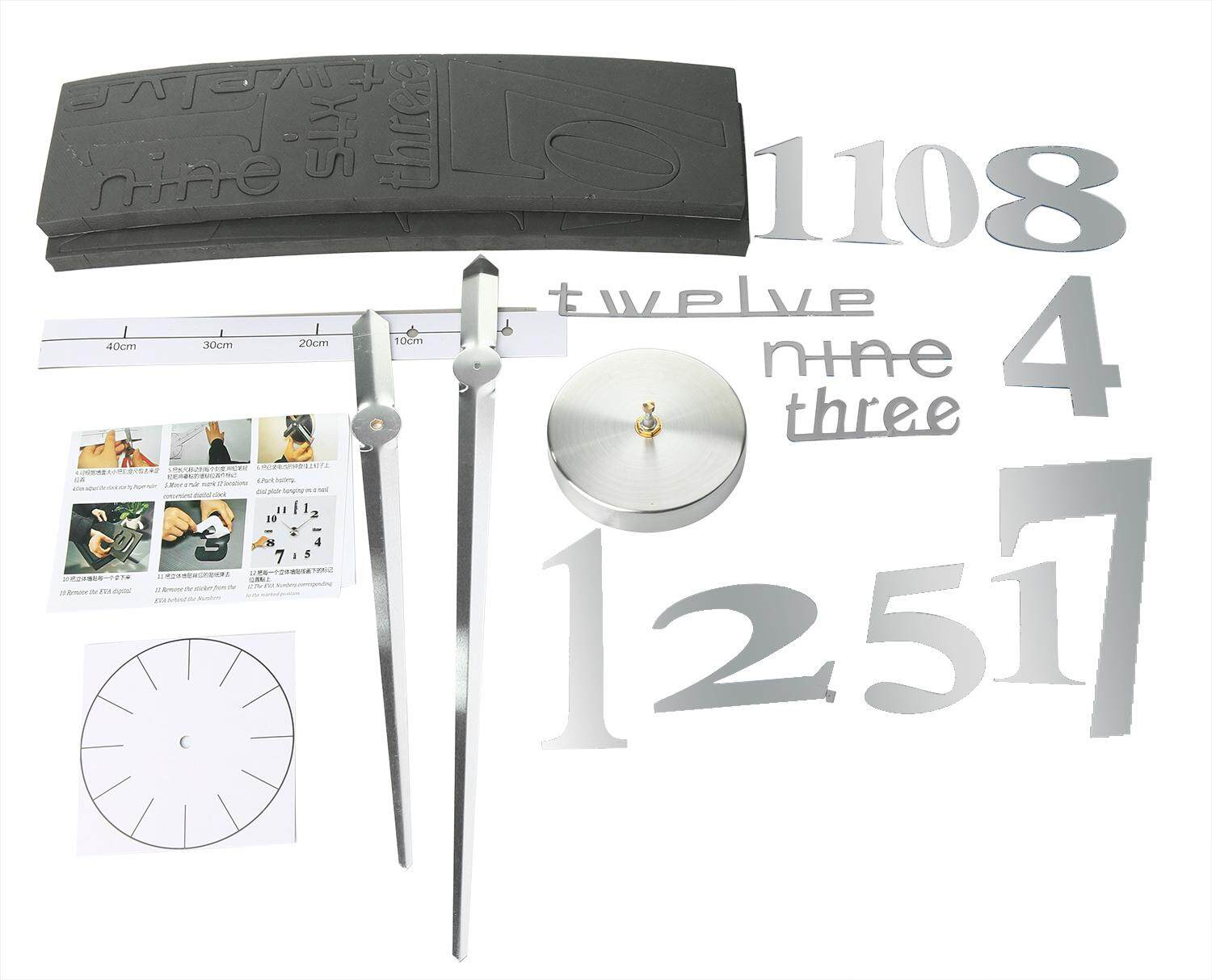 OUJUZHIHAN DIY Large Wall Clock Home Office Room Decor 3D Mirror Surface Sticker