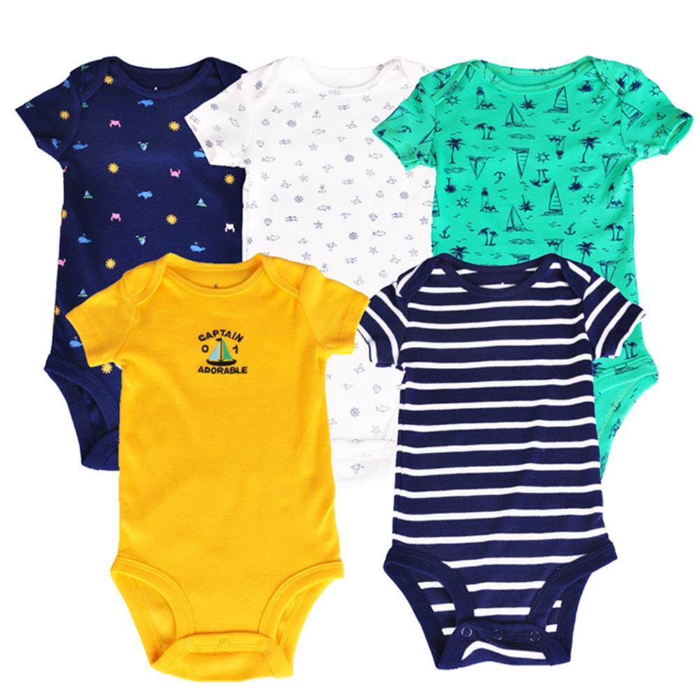 Star Mall 5pcs/set Baby Boys Cool Dinosaur/marine Series Romper Short Sleeve Cotton Vest Jumpsuit By Star Mall.