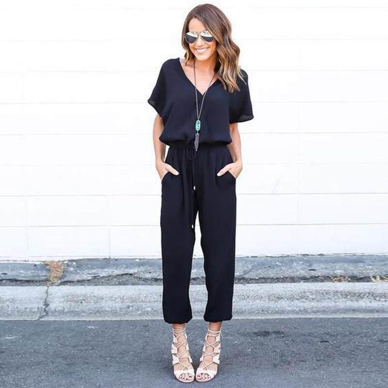 759d5718795 Tenflyer Fashion Summer Fall Women Jumpsuits Short Sleeve V Neck ...