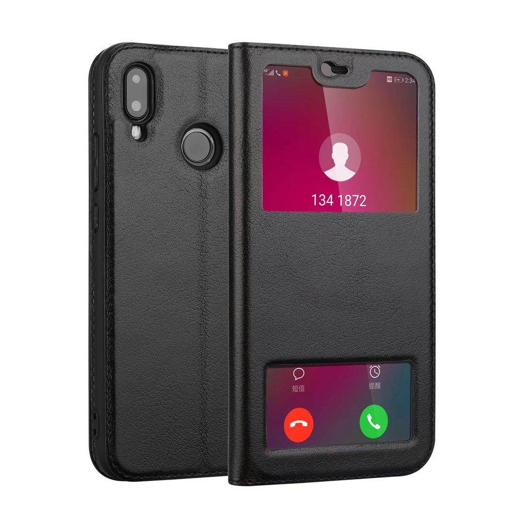Kulit Asli Mewah Lipat Penyangga Sarung Case untuk Huawei P20 Lite/Nova 3E (Warna-warni)-Internasional