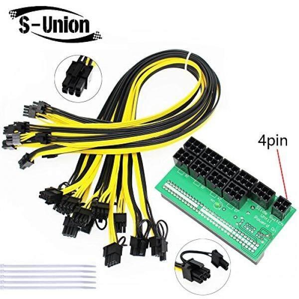 S-Union Ethereum ETH Za Mining Sumber Daya Listrik 12 V GPU/PSU Breakout Babi Hutan + 9 Pcs 16AWG pci-e 6Pin Ke 6 + 2Pin Kabel (27.5 Inci), papan Adaptor Daya untuk HP 1200 W/750 W GPU (dengan 5 Nylonties)-Internasional