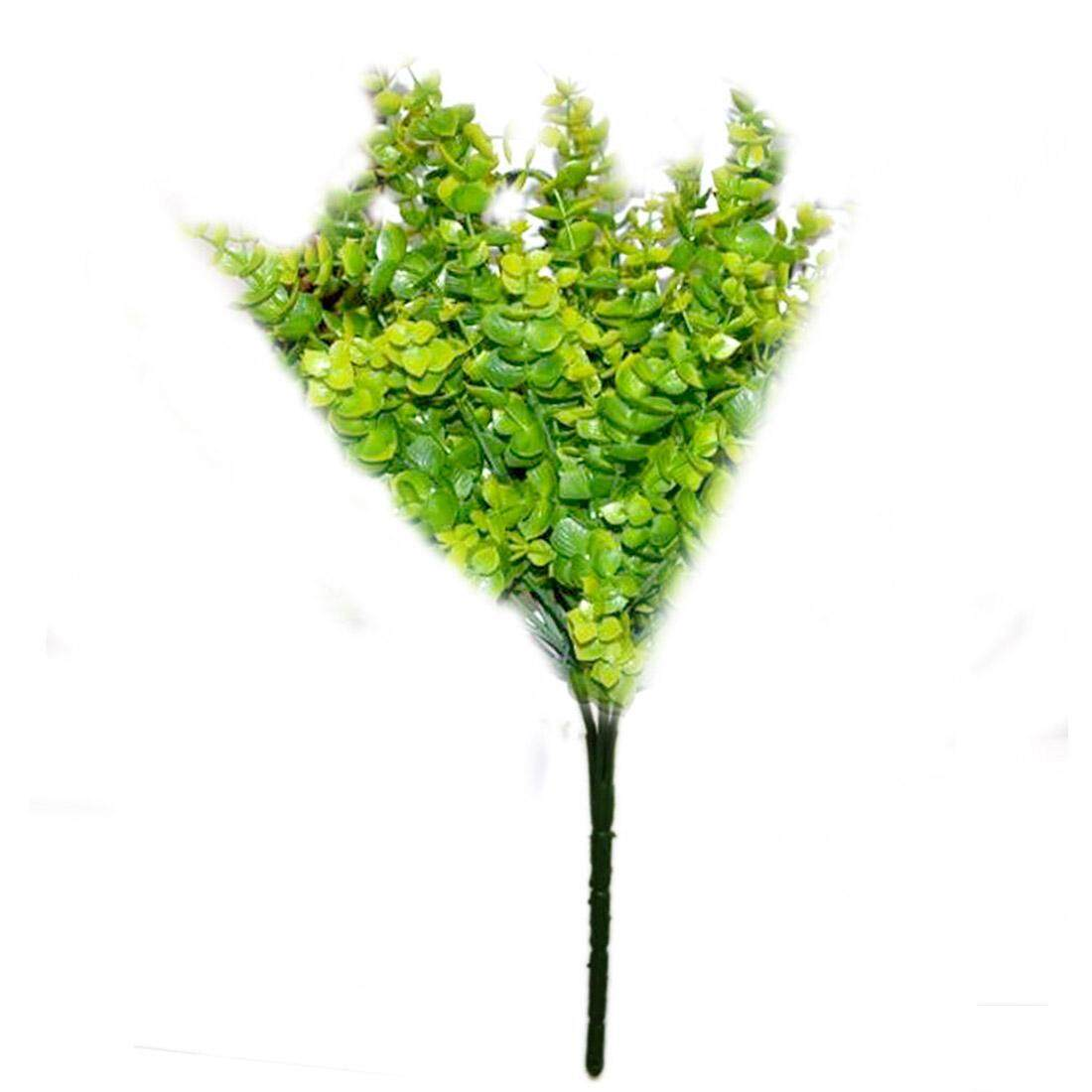 Spring Decoration 1 Bunch 7-Branches Artificial Eucalyptus Grass Green Leaves Plant For Home Office Decoration Fake Flower - intl