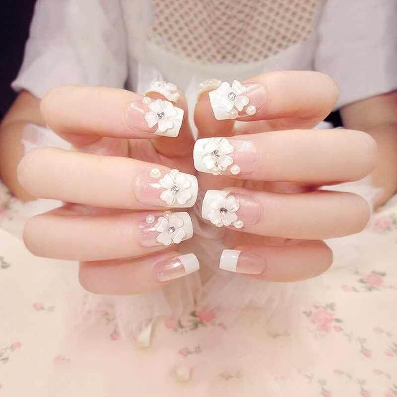 Yuchen 24 Pcs/Set 3D Fake Nails Wedding Bride False Nail With Glue