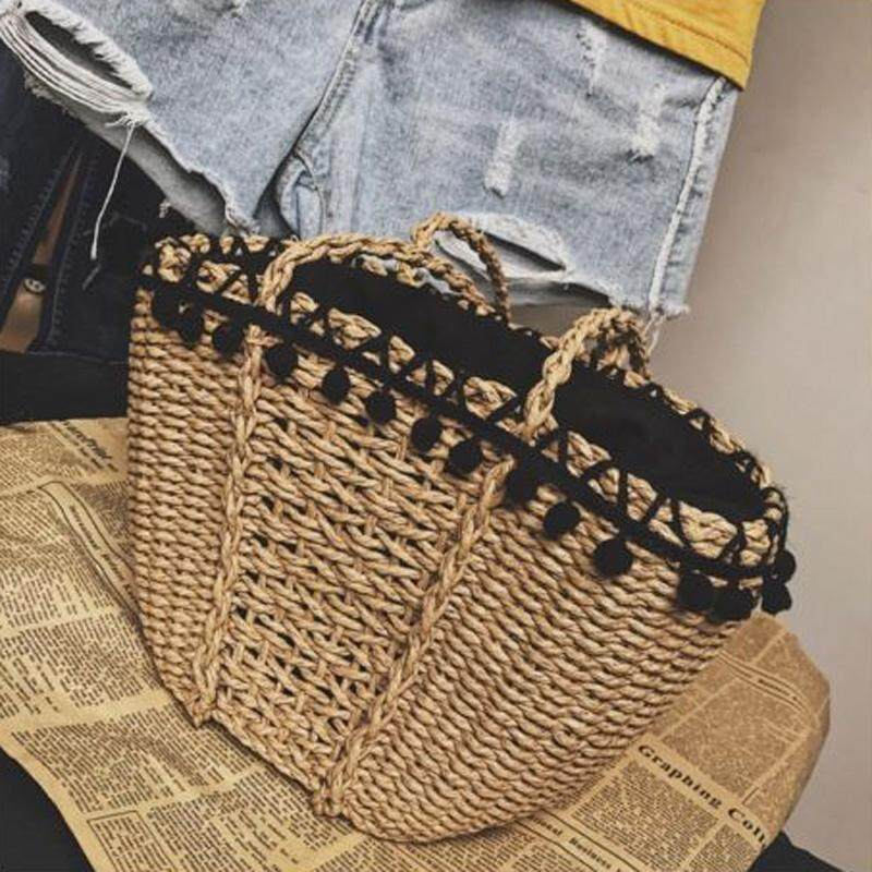 Vintage Handmade Straw Woven Beach Tote Knitted Shoulder Bag Shopping Handbag Coupon