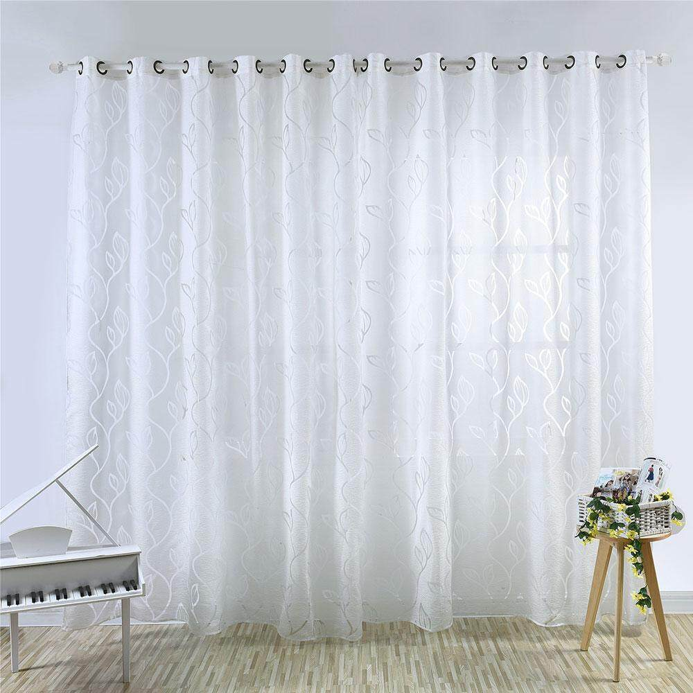 telimei Leaves Elegant Embroidered Semi-Sheer Window Curtains Faux Linen Gromment Crutains Drape for Living Room 250cm X 100cm,1 Panel