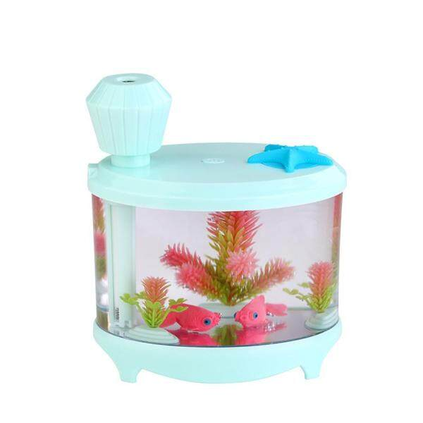 burmab 460ml USB Portable Small Fish Tank Cool Mist Aroma Humidifier Air Purifier with 7 Cloor LED Lights and Timer for Office Home Kids Bedroom(Green) Singapore