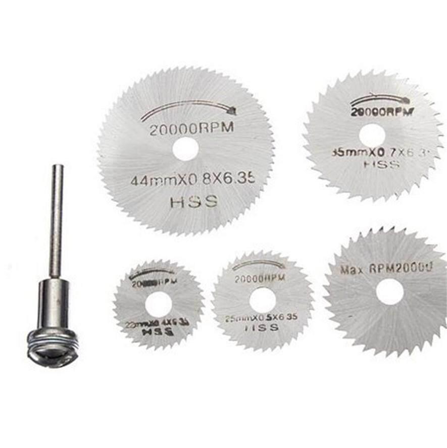 6Pcs Set HSS Circular Saw Blades Disc Mandrel Accessories Kit for Cutting Wood