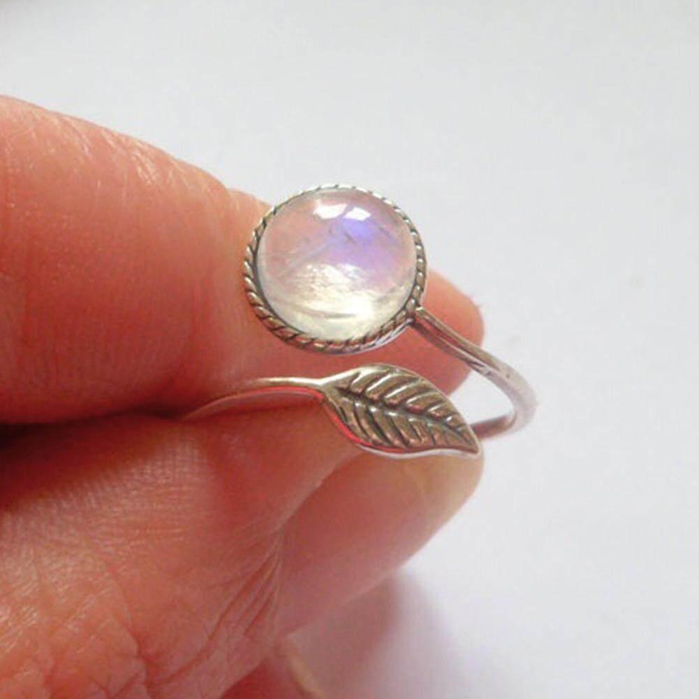 Unik Dapat Disesuaikan Daun Berlian Imitasi Buka Cincin Pengantin Pernikahan Perhiasan Hadiah (Perak)-