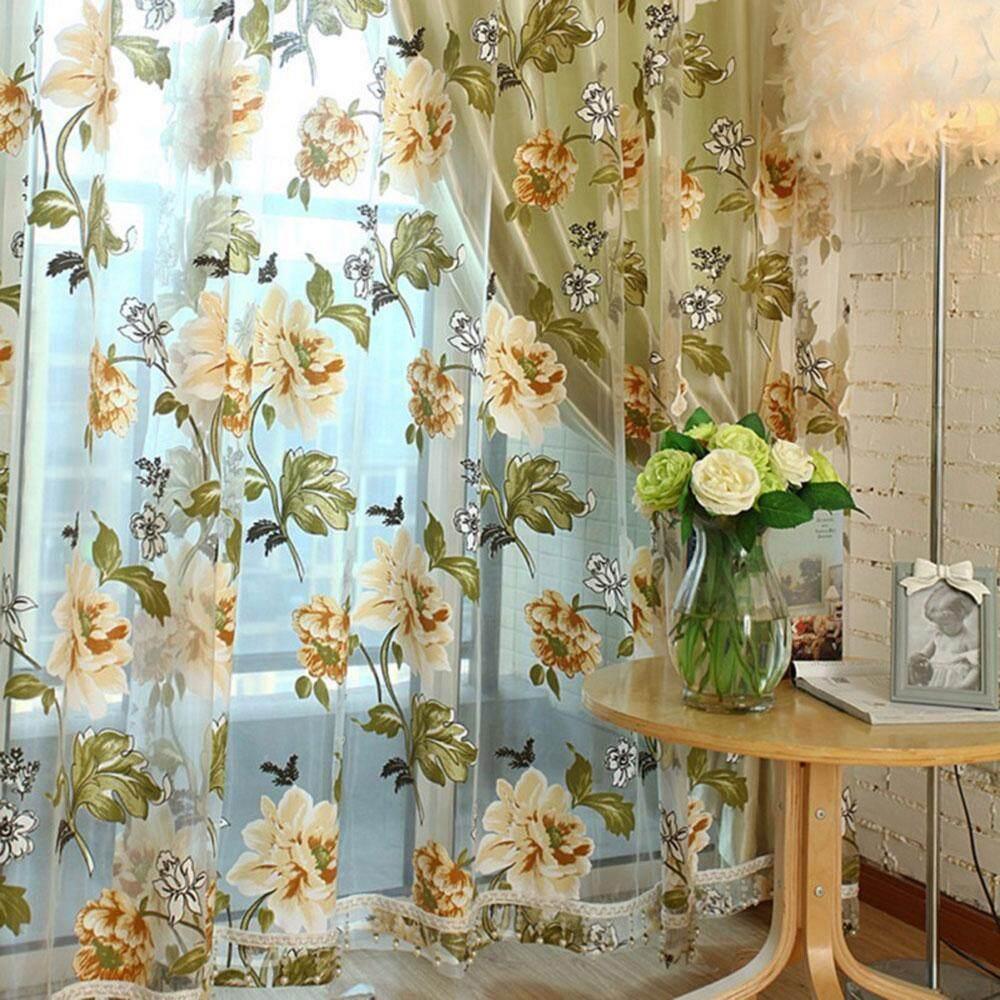 opoopv Floral Tulle Voile Door Windows Curtains Drape Panel Sheer Scarf Valances - intl