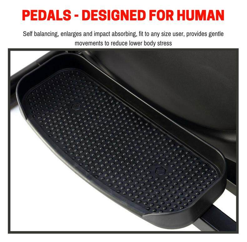 Pedals- Self balancing closes spacing, enlarges and impact absorbing, fit to any size user, provides gentle movements to reduce lower body stress.png