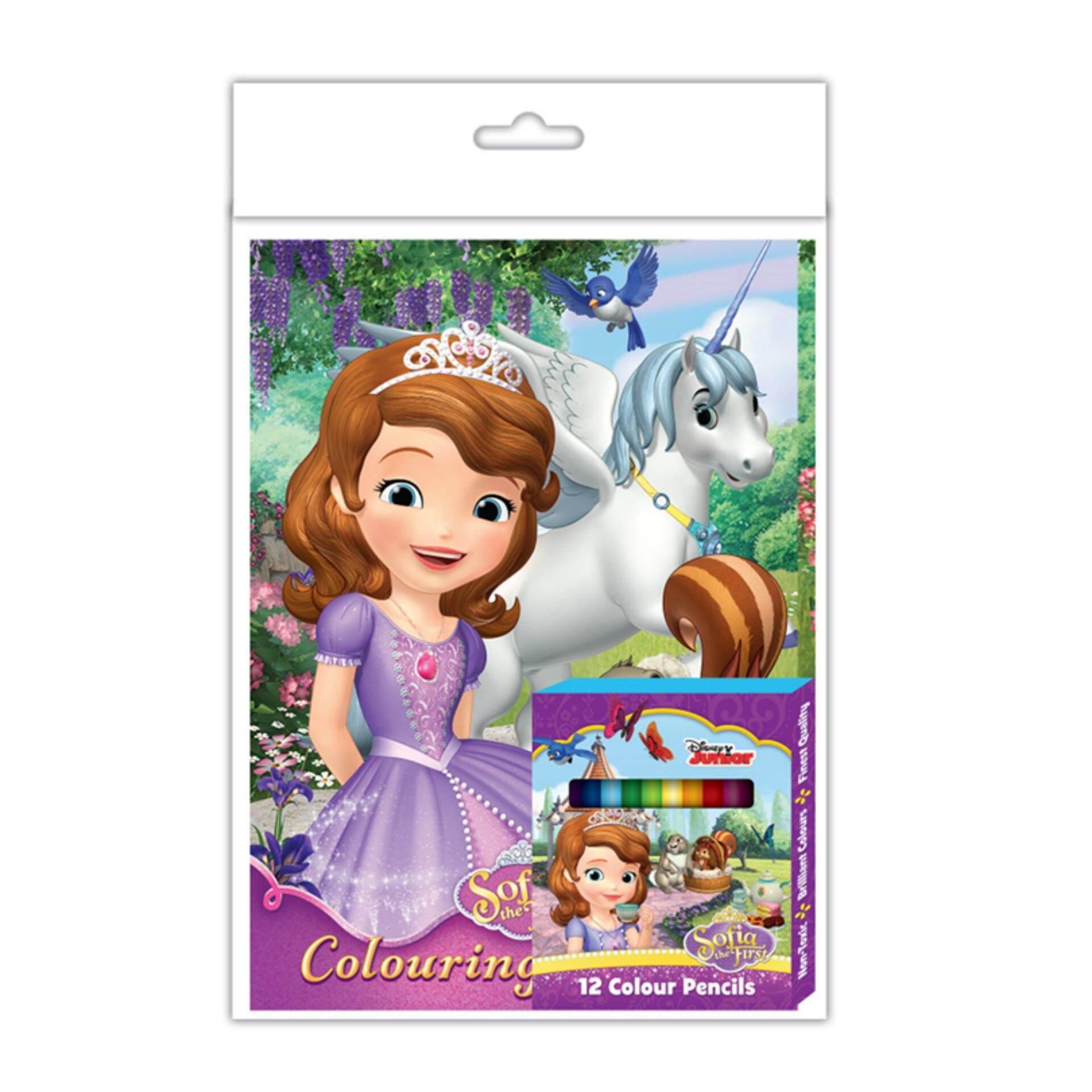 Disney Princess Sofia Activity Book With Colour Pencil Set - Purple Colour