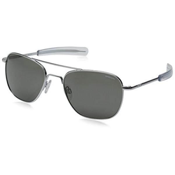 105519c06a44 Randolph Aviator Square Sunglasses, 58, Matte Chrome, Bayonet, Gray Lenses