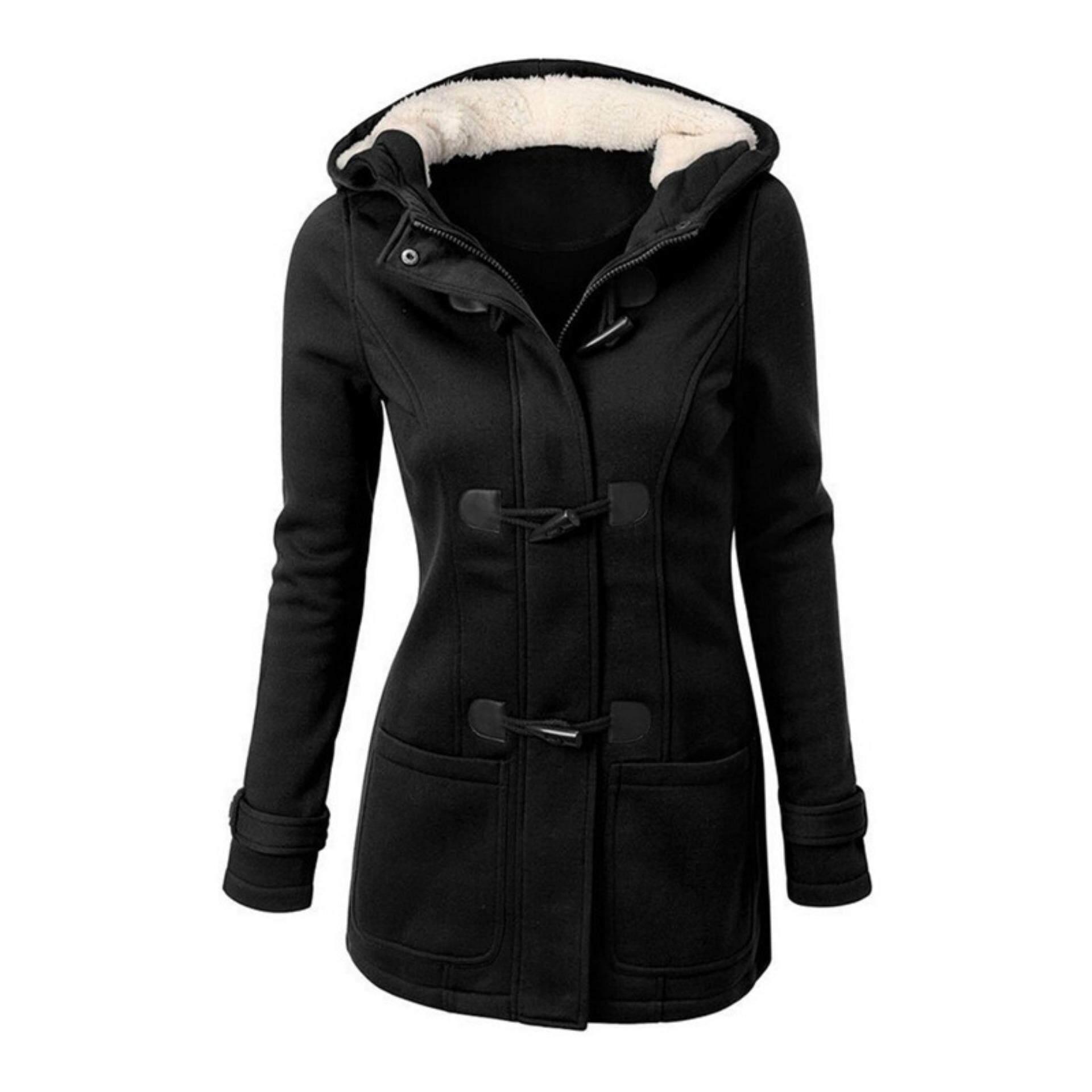 ผู้หญิงฤดูหนาวอบอุ่นขนสัตว์ผสมเสื้อคู่เสื้อกันหนาวเสื้อปาร์เกอะทนกว่าสีดำเอส - นานาชาติ.