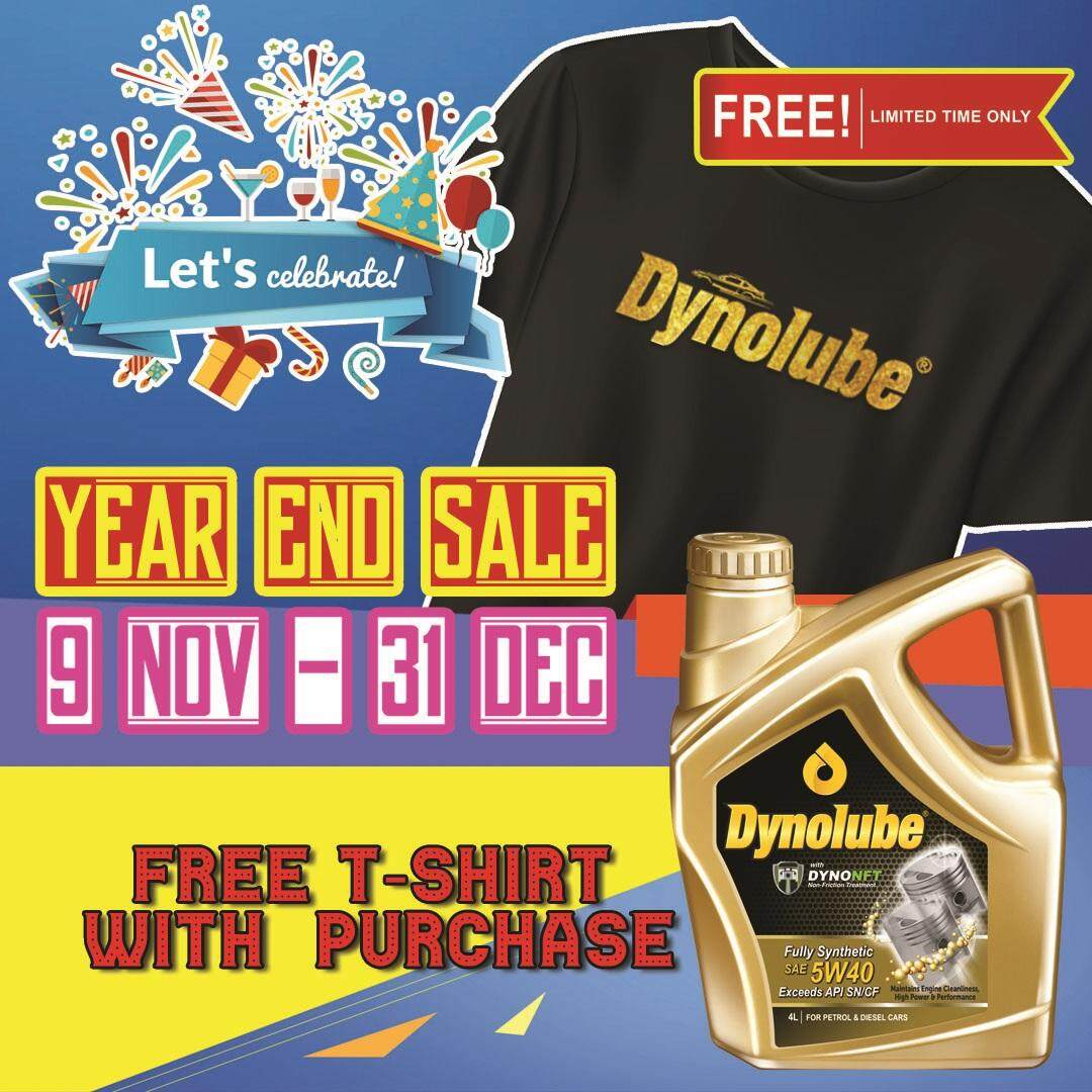 Dynolube 5W40 with DYNONFT Fully Synthetic Engine Oil SN/CF 4Liter FREE 1 X T-Shirt (D)
