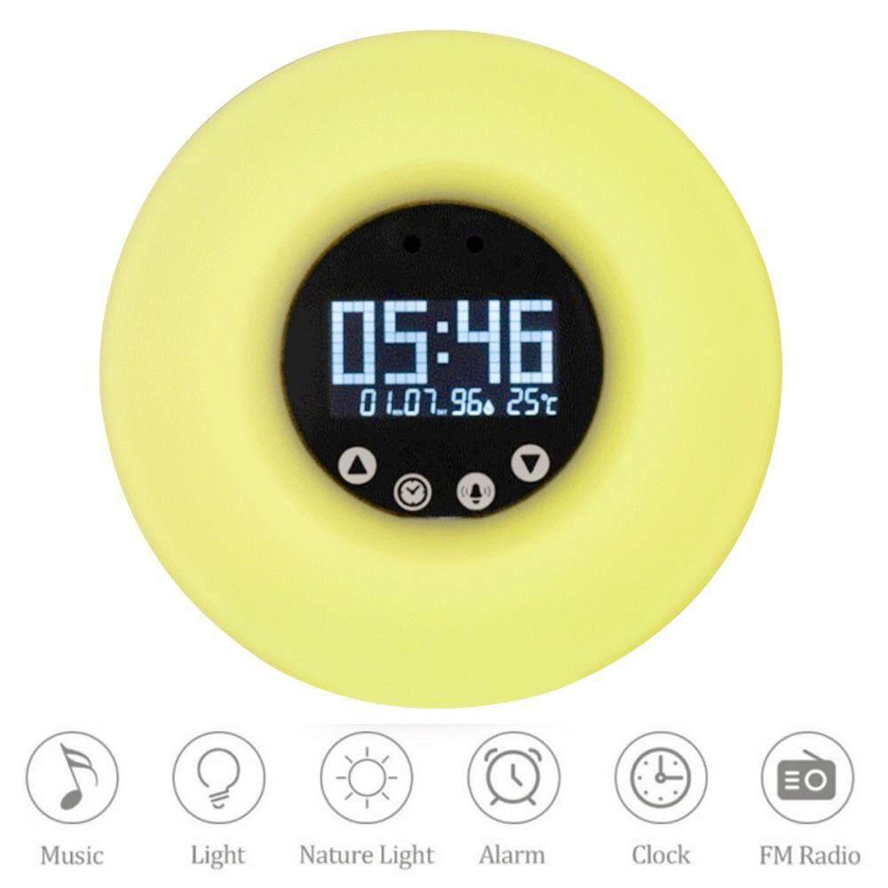 honful (UK Plug)LED Digital Alarm Clock Sunrise Wake Up Light Simulation Bedside Lamp Night Light Snooze/Sunset FM Radio Memory Function