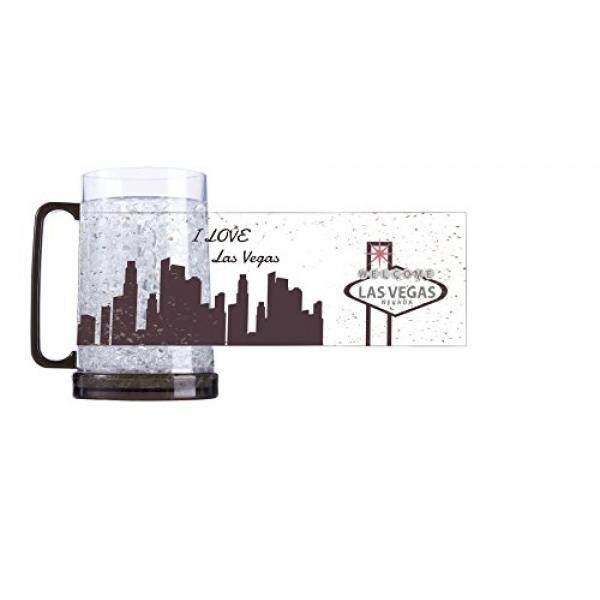 Ganda Dinding Frosty Pembeku Mug 16 Oz. Las Vegas Imprint, Set Dua-Internasional