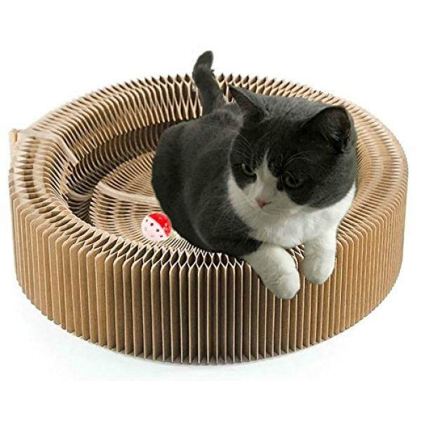 Cat Scratcher Cardboard Scratching Post Pad Scratch Lounge Bed Large Turbo Ball Toy with Catnip Protect Furniture and Keep Kitty Health Fun - intl
