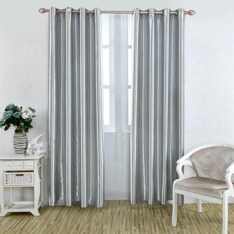 Solid color shade curtains, single-sided coating, multi-size optional, black shade good # Grey 100*250 cm - intl