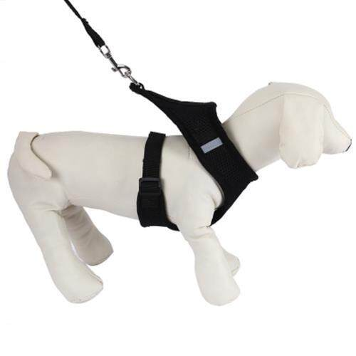 KIMPETS PET HARNESS LEASH SOFT MESH DOG CAT VEST (BLACK)