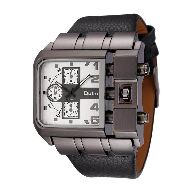 Men's Wrist Watches Luxury Design Quartz Watch Men Square Dial PU Leather Strap Male Military Antique