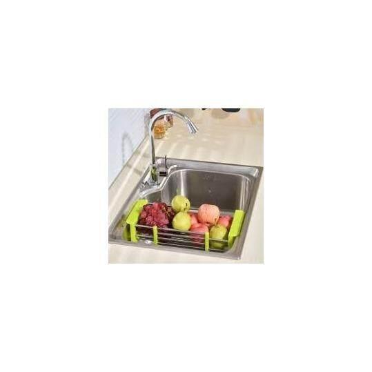 Adjustable Kitchen Sink Stainless Steel Vegetable Fruit Dish Plates Drainer Rack Dryer Shelf Holder Rack - Random Colour