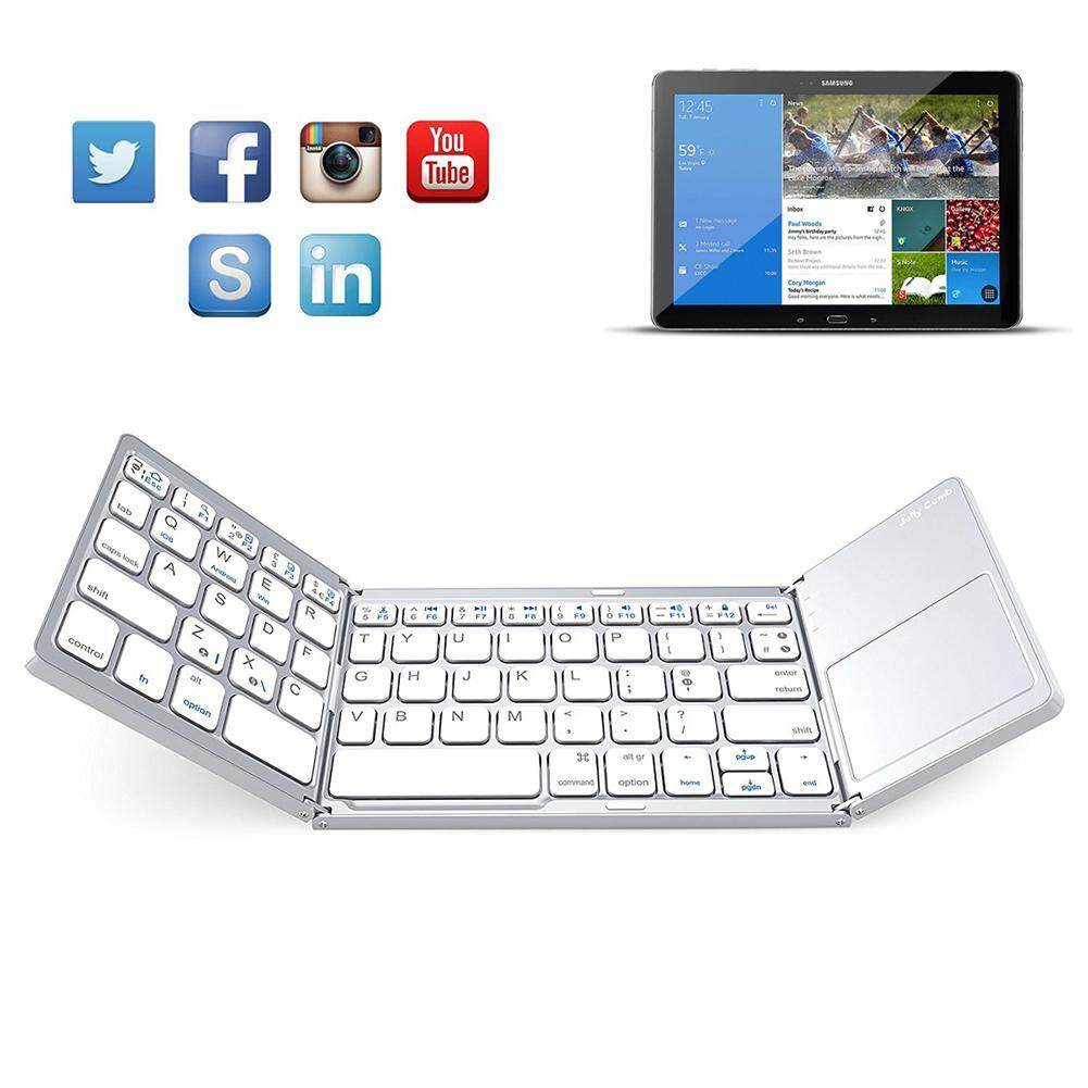 Rodeal Folding Bluetooth Keyboard, Rechargeable Portable BT Wireless Foldable Mini Keyboard With Touchpad For Tablet
