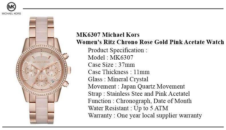 e87d8c7ac98f 1 x Michael Kors Women s Ritz Chrono Rose Gold Pink Acetate Watch MK6307 1  x Original Watch Box