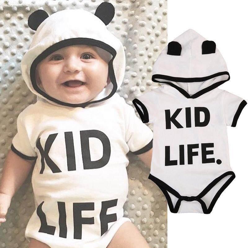 น่ารักเด็กวัยหัดเดินเด็กชีวิตเด็กทารกสาวเสื้อผ้าฮู้ด Jumpsuit ชุดบอดี้สูท