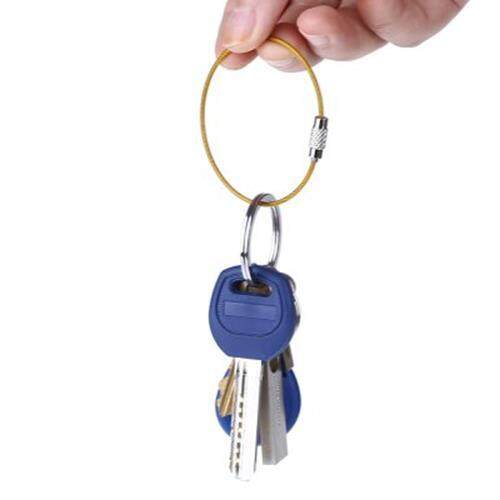 OUTDOOR MULTIFUNCTION KEY RING STEEL WIRE ROPE (GOLDEN)