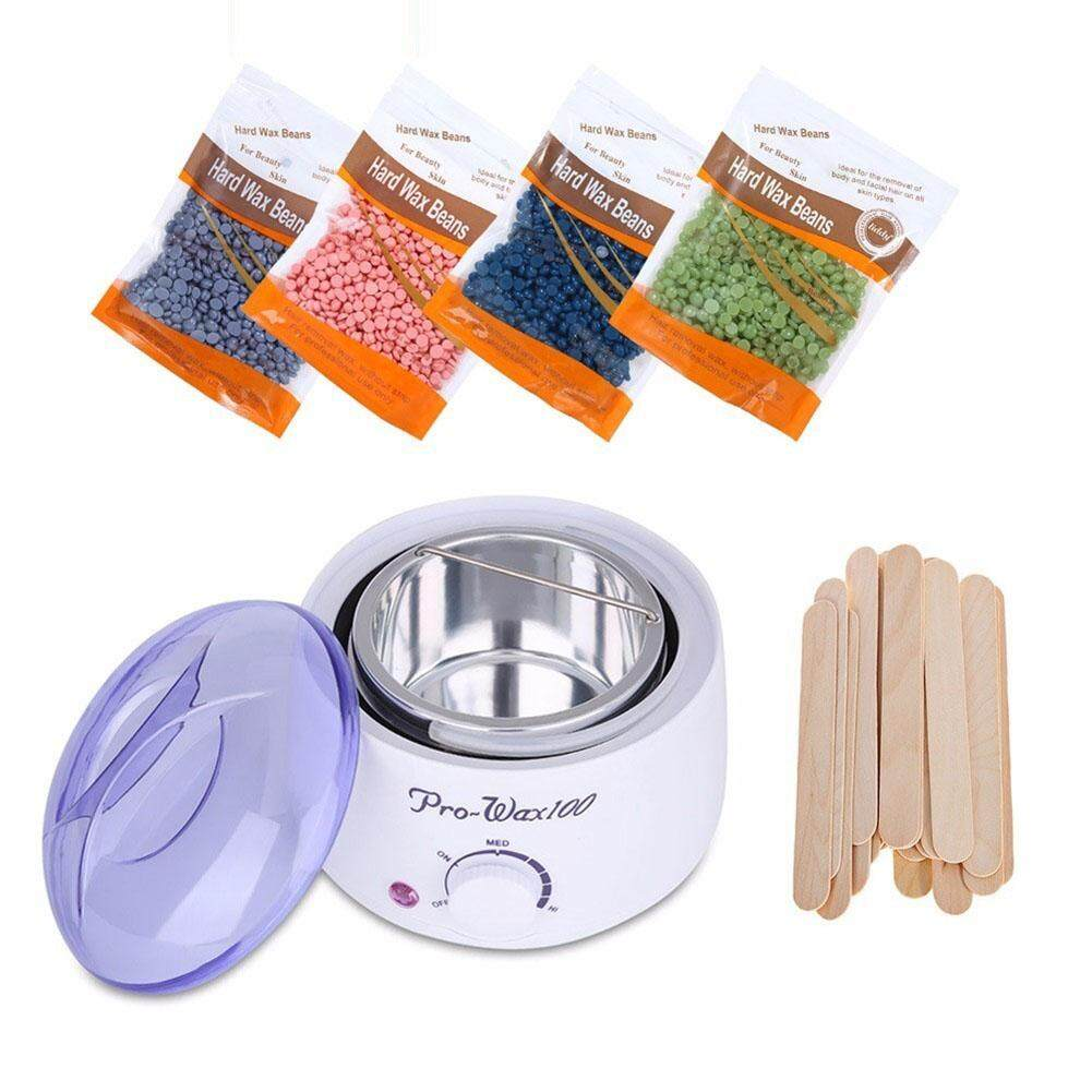 Redcolourful Wax Warmer Set Paraffin Heater Machine Hair Removal Waxing Beans Depilatory Wax Painless Bean Sticks Wax Eu Specification 3pcs/set By Redcolourful.