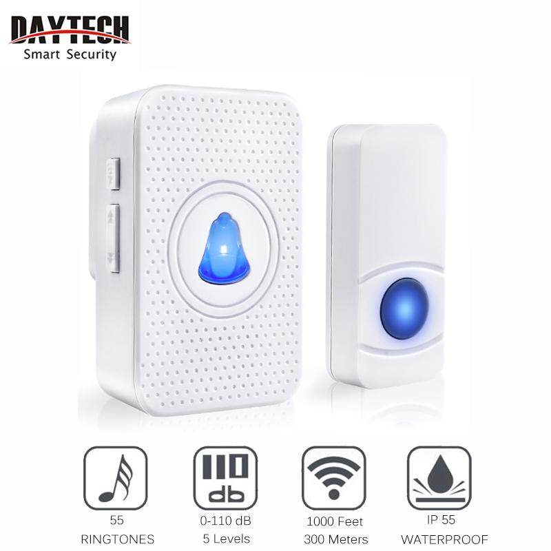 DAYETCH Wireless Doorbell DIY Waterproof Door Bell Plug-in And Play Operating LED Indicator Remote Button With 55 Chime Ring Tones UK plug(Receivers and Transmitters are optional)