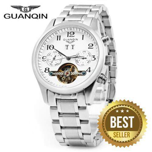 GUANQIN MALE LEATHER TOURBILLON AUTOMATIC MECHANICAL WATCH WITH CALENDAR DISPLAY 30M WATER RESISTANT TWO MOVING SUB-DIALS (SILVER WHITE)