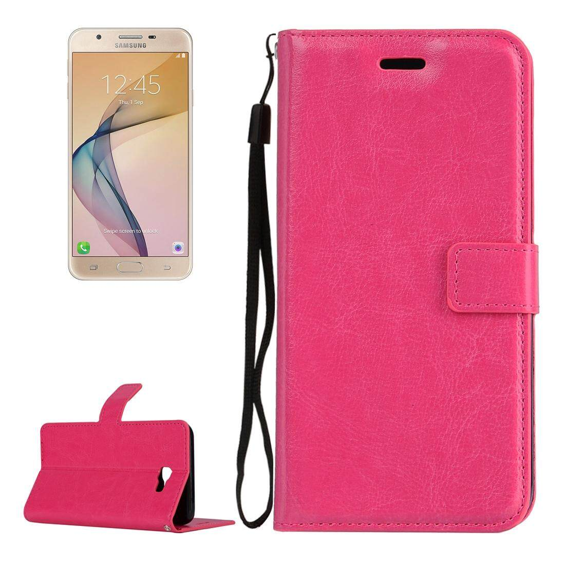 For Samsung Galaxy J7 Prime Crazy Horse Texture Horizontal Flip PU Leather Case with Holder &