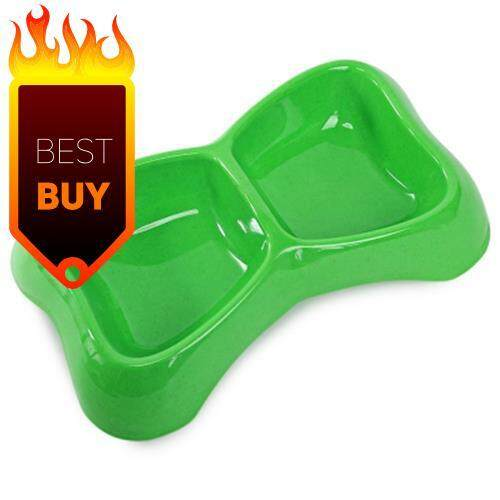 BONE SHAPE PET DOG CAT FEEDING AND DRINKING DUAL USE BOWL (GREEN)