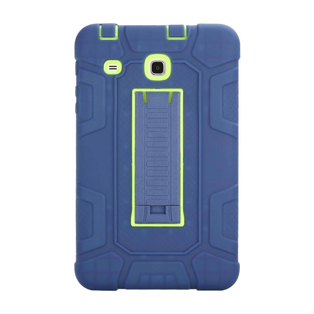 Three Layer Kickstand Hybrid Rugged Heavy duty Shockproof Anti-Slip Case Full Body Protection Cover for Samsung Galaxy Tab E 8.0 (T377/T375) Blue+Yellow Green