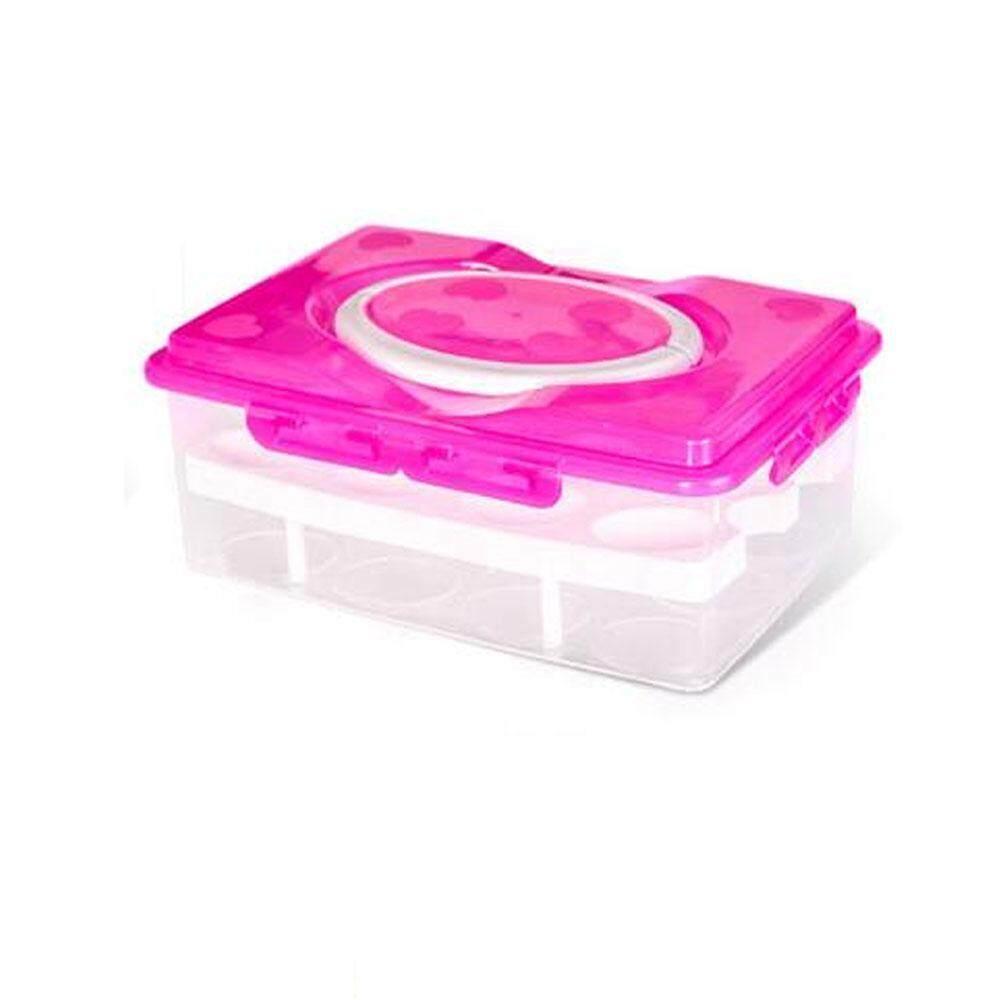 Kobwa Telur Kotak Penyimpanan Portable Lapisan Ganda 24 Sel Telur Pelestarian Kotak Penyimpanan Multifungsi Dapur Produk