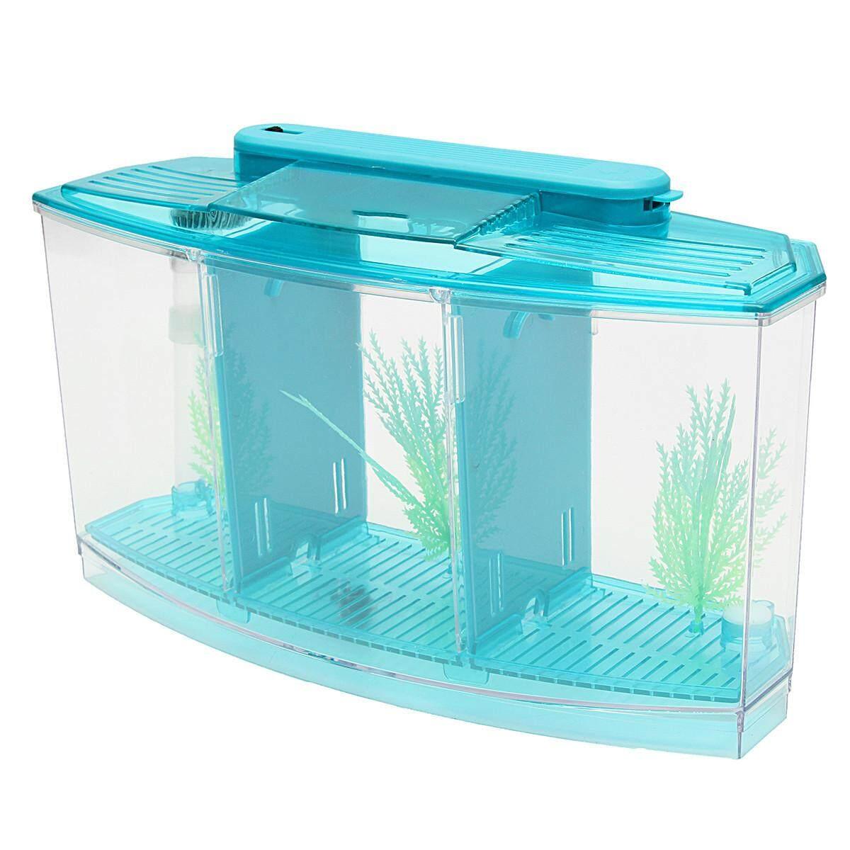 Sale New Triple Cube Led Light Betta Aquarium Separate Spawning Box Fish Tank 7Gel Blue Intl