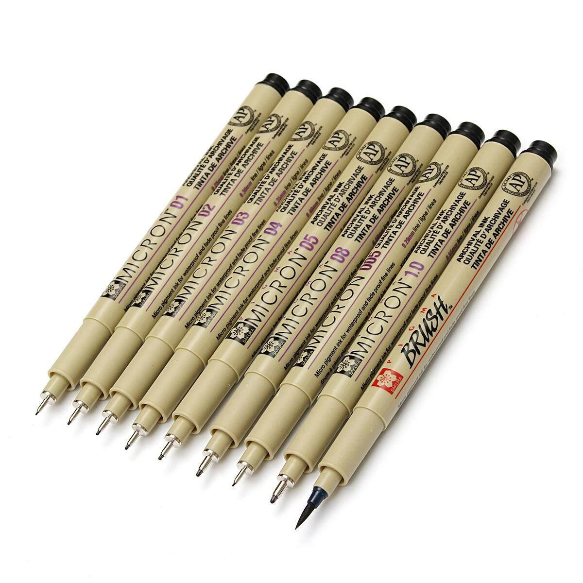 Mua Bộ 9 cái Blcak Micron Mịn Lót Vẽ Bút Mực & Bàn Chải Nghệ Thuật Tiếp Liệu-intl
