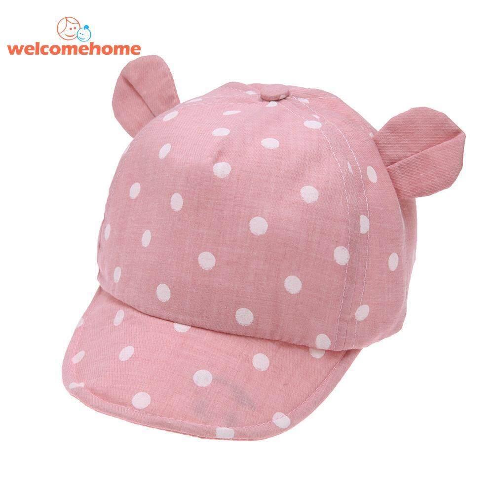 Polkadot Manis Bayi Topi Gadis Anak Laki-laki Musim Panas Lembut Brim Bayi Sun Telinga