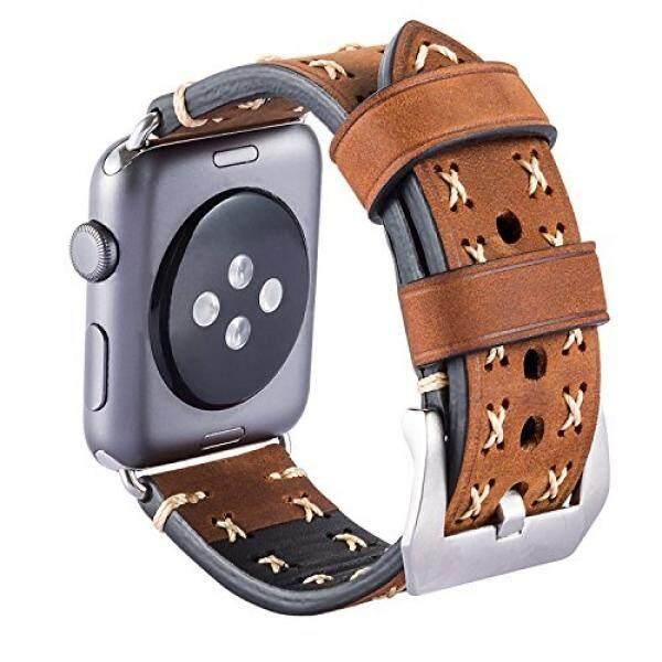Apple Jam Tangan Seri 3 Tali 42 Mm Ibazal Kulit Tali IWatch Tali .