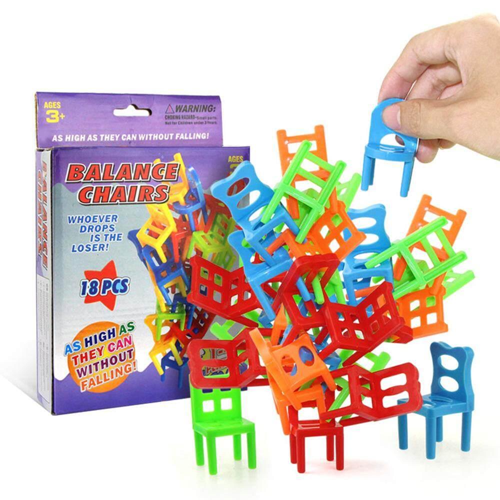 18 Pcs Menyeimbangkan Kursi Set Aneka Kursi Penumpukan Permainan Nikmat Pesta Anak-anak Stacking Toys-Internasional